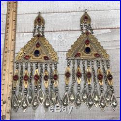 9x3.75, 1 Pair Old Vintage Afghan Turkmen Tassel Pendant Gold-Gilded, TE158