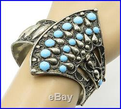 A. P ITALY 925 Silver Vintage Turquoise Decorated Twist Bangle Bracelet B6931