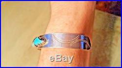 A. PENKETEWA Vintage Zuni Handmade Sterling Silver Turquoise Cuff Bracelet