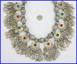 AFGHAN ALPACA RARE DIFFERENT GLASS STONES AND UNIQUE TASSELS NECKLACE
