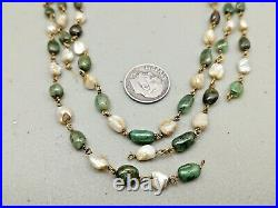 ANTIQUE 17th 18th c. PERIOD MUGHAL INDIA 14K PEARL EMERALD BEADS NECKLACE AS IS