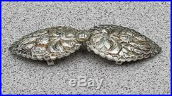 ANTIQUE BULGARIAN FOLKLORE SILVER HAND-CARVED BELT BUCKLES (PAFTI) 19th CENTURY