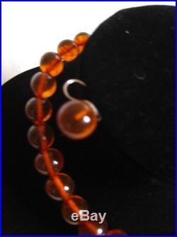 Antique/vtg Graduated Baltic Amber Necklace And Earrings Silver Set Cognac Color