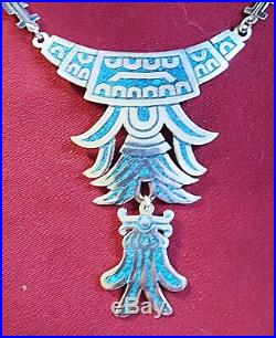 ANTIQUE c. 1940-50s AZTEC/MAYAN INDIAN STERLING SILVER TURQUOISE NECKLACE