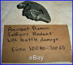 ANTIQUE c300 AD ORIGINAL ROMAN SILVER WARRIOR HEAD PENDANT with BATTLE DAMAGE vafo