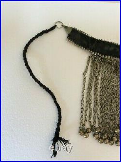 Afghan Necklace Choker Kuchi Vintage Tribal Boho Silver Tone Metal Gypsy Dangle