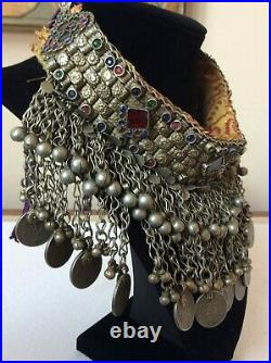 Afghan Necklace Choker Kuchi Vintage Tribal Silver Tone Metal Coin Dangle