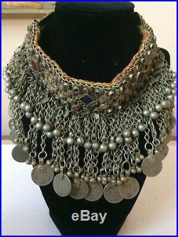 Afghan Necklace Choker Kuchi Vintage Tribal Silver Tone Metal Coin Dangle Boho