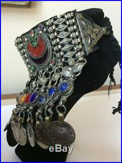 Afghan Necklace Choker Vintage Tribal Kuchi Silver Tone Metal Gypsy Coin Dangle