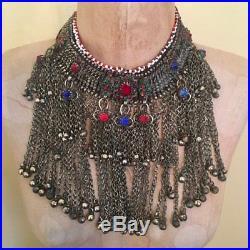 Afghan Necklace, Massive, Kuchi, Blue Jewels, Huge, Vintage, Bib, Oversized, Pak