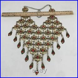 Afghan Turkmen Necklace Teardrop Dangle Golden Statement Kuchi Necklace, TN267