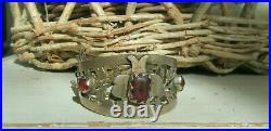 Afghani Vintage Tribal Silver Cuff Bracelet, Ethnic Afghanistan Red Glass