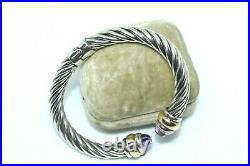 Als Italy Renaissance Sterling Silver 18k Gold Amethyst 8mm Cable Bracelet 28g S