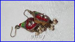Anceint Ethnic Bukhara Tribal handcrafted Enamel 2 sides Earrings