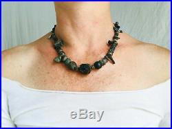 Ancient Metal and Garnet Excavated Bead Necklace. Beads as Old as 2000 Years