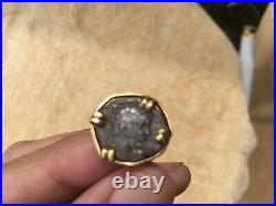 Ancient Roman Empire Silver Denarius 200 AD 1800 years old Mounted Vintage Ring