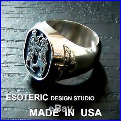 Ancient, historical and unique hand made Persian silver ring, Ahura Mazda