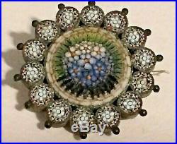 Antique 19th Century Micro Mosaic Brooch signed OT Beautiful Flower Burst