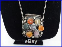Antique Afghan Kuchi Pill Box Silver Ethnic Tribal Natural Gem Stone Necklace
