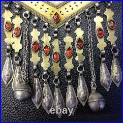 Antique Afghan Turkmen Necklace Gold-Gilded Silver Garnet Boho Old Jewelry #565