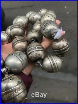 Antique Afghan Turkmen Old silver beads necklace 449 Gram