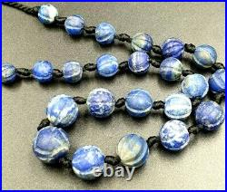 Antique Afghanistan Lapis Lazuli Carved Rare Unusual Melon Bead Strand Necklace