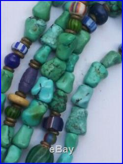 Antique African Trade Turquoise And Venetian Glass Chevron beaded Necklace! Old