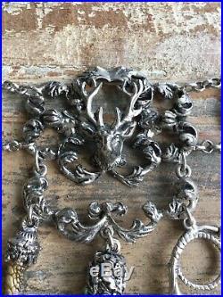 Antique Austria Charm Coin Bracelet Vintage Jewelry Hunting Deer Antler Talon