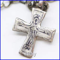 Antique Byzantine Chain Necklace Cross Crucifix Pendant Silver Antiquity (#5975)