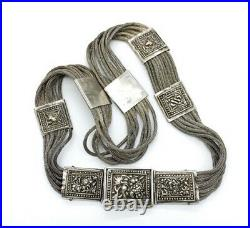 Antique Chinese Sterling Silver Repousse Fox Tail Chain Belt Antique 925 Belt