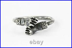 Antique Closed Right Fist Sterling Silver West Indies Freedom Revolution Ring
