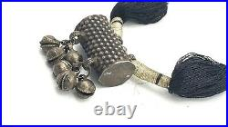 Antique ETHNIC Sterling Silver Textile Yarn BELL Rattle Necklace Unknown Origin