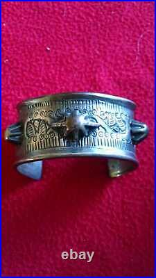 Antique Egyptian Sterling Silver Hand Wrought Cuff Bracelet With Hallmarks