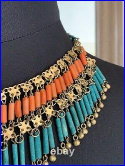 Antique Ethnic Necklace Coral & Turquoise beads with a beautiful metalwork