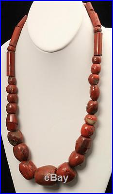Antique Hand Carved Red Jasper Bead Necklace Huge Chunky Heavy Stone
