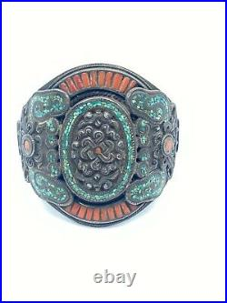 Antique Hand Made Nepali Tibetan Vintage Jewelry Silver Coral Turquoise Bracelet