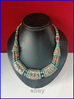 Antique Handmade Nepali Tibetan Jewelry Silver Turquoise Coral Necklace