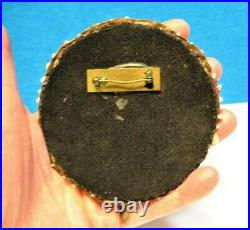 Antique Huge Pin Brooch Seed Bead On Leather Tribal 3 1/2 Inches