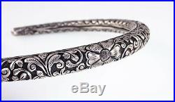 Antique Indian Hansuli Hand Carved Silver Choker Necklace