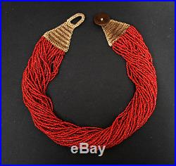 Antique Indian Multi Strand Bead Necklace Dated 1888