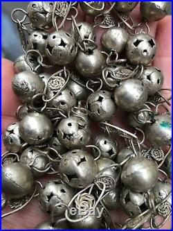Antique Indian Old silver beads necklace 85.6 Gram