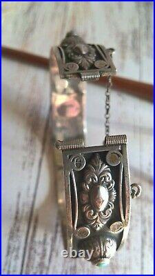 Antique Italian Sterling Silver & Blue Turquoise Bohemian Opening Bracelet
