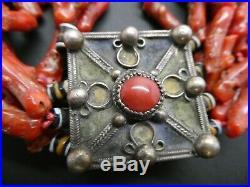 Antique Moroccan Berber Branch Genuine Coral Enamel Silver Prayer Box Necklace