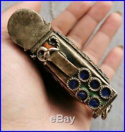 Antique Moroccan Berber Enamel Necklace Quran Case Prayer Box Silver