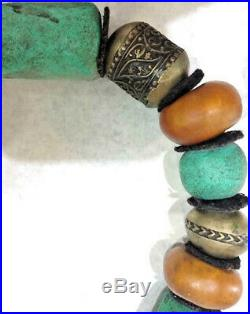 Antique Moroccan Berber Ethnic Tribal Dangle Beads Handmade Charmed Necklace