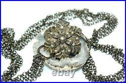 Antique Ottoman Turkish Silver 800 Flower Filigree Chain Belt 112g Ms5