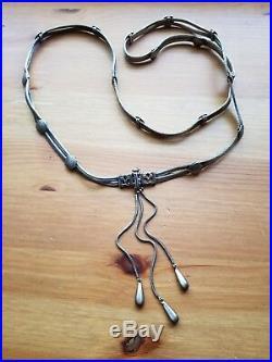 Antique Rare Sterling Bellychain Ethnic Tribal Snake Tassle 35.5in 90cm 112g