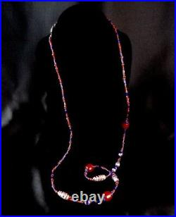 Antique Red Blue Murano Long Trade Bead Necklace 41