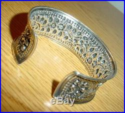 Antique Repousse Sterling Silver Cuff Bracelet