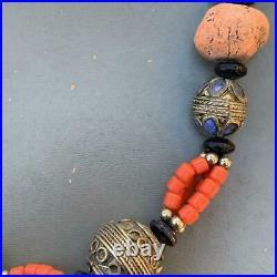 Antique Silver Berber Enamel Egg Amulet Beaded Statement Necklace